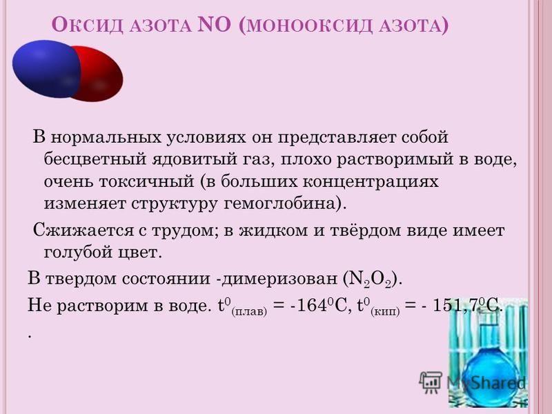 О КСИД АЗОТА NO ( МОНООКСИД АЗОТА ) В нормальных условиях он представляет собой бесцветный ядовитый газ, плохо растворимый в воде, очень токсичный (в больших концентрациях изменяет структуру гемоглобина). Сжижается с трудом; в жидком и твёрдом виде и