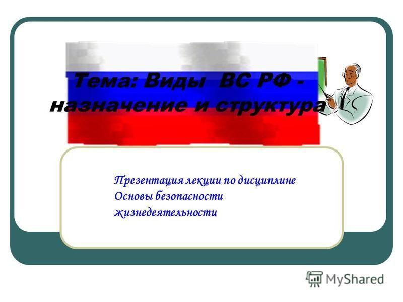 Презентация лекции по дисциплине Основы безопасности жизнедеятельности Тема: Виды ВС РФ - назначение и структура