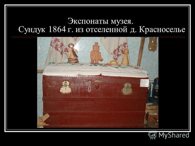 Экспонаты музея. Сундук 1864 г. из отселенной д. Красноселье