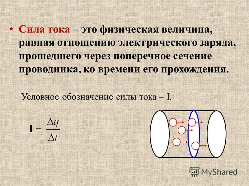Сила тока – это физическая величина, равная отношению электрического заряда, прошедшего через поперечное сечение проводника, ко времени его прохождения. Условное обозначение силы тока – I. I =I =