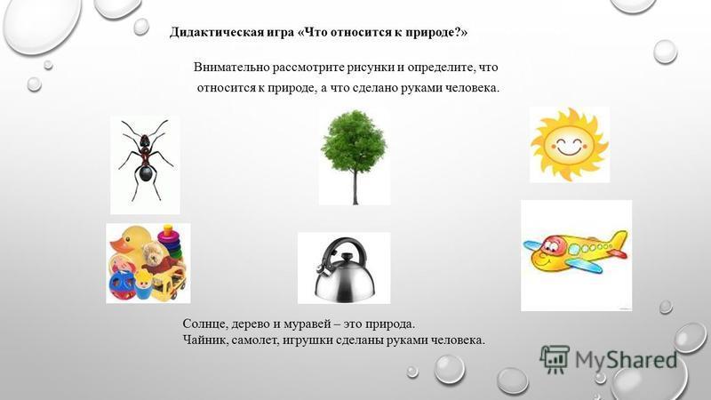 Внимательно рассмотрите рисунки и определите, что относится к природе, а что сделано руками человека. Солнце, дерево и муравей – это природа. Чайник, самолет, игрушки сделаны руками человека. Дидактическая иг