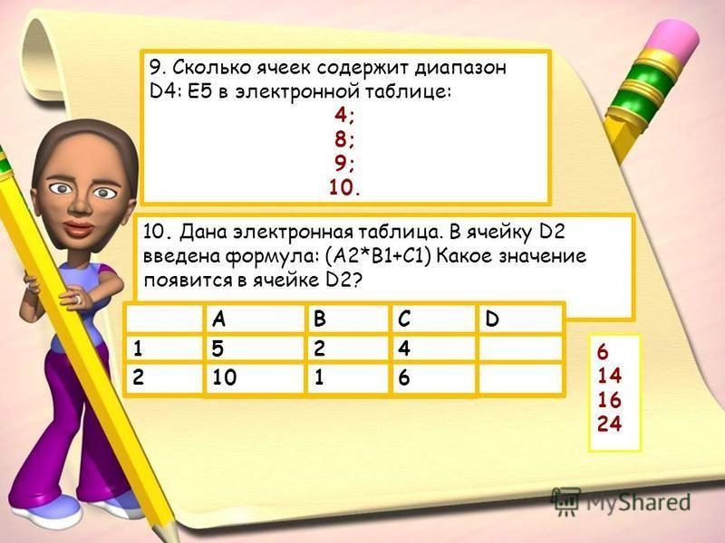 9. Сколько ячеек содержит диапазон D4: E5 в электронной таблице: 4; 8; 9; 10. 2 10. Дана электронная таблица. В ячейку D2 введена формула: (A2*B1+C1) Какое значение появится в ячейке D2? BD 61102 451 CA 6 14 16 24