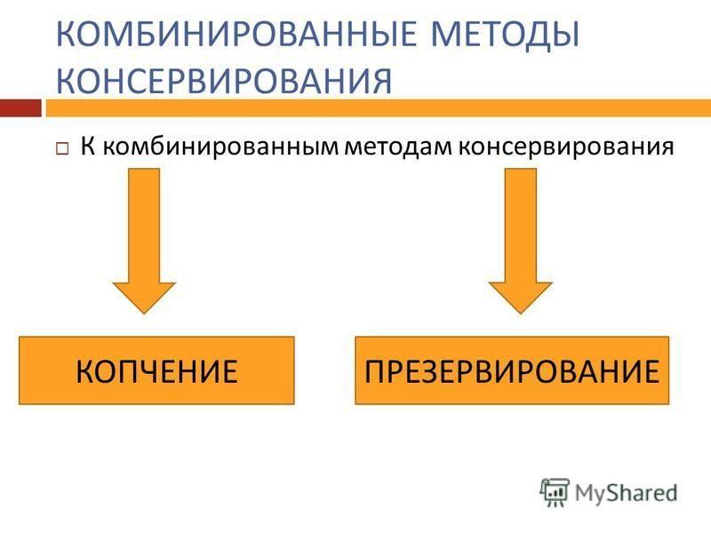 КОМБИНИРОВАННЫЕ МЕТОДЫ КОНСЕРВИРОВАНИЯ К комбинированным методам консервирования КОПЧЕНИЕПРЕЗЕРВИРОВАНИЕ