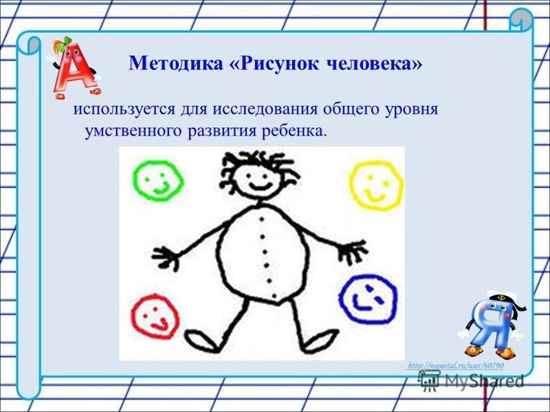 Методика «Рисунок человека» используется для исследования общего уровня умственного развития ребенка.