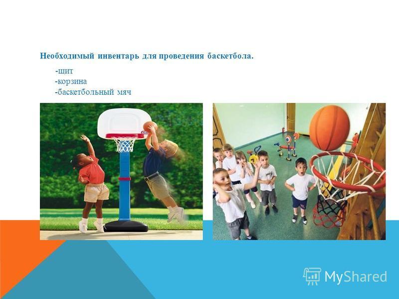Необходимый инвентарь для проведения баскетбола. -щит -корзина -баскетбольный мяч