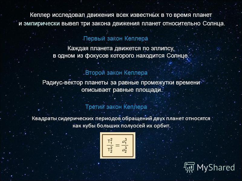 Квадраты сидерических периодов обращений двух планет относятся как кубы больших полуосей их орбит. Третий закон Кеплера Каждая планета движется по эллипсу, в одном из фокусов которого находится Солнце. Первый закон Кеплера Второй закон Кеплера Радиус