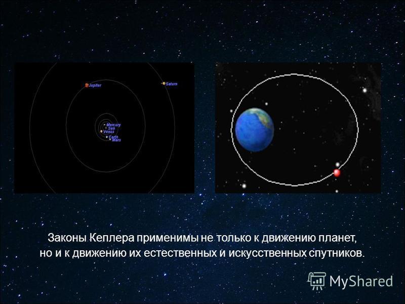 Законы Кеплера применимы не только к движению планет, но и к движению их естественных и искусственных спутников.