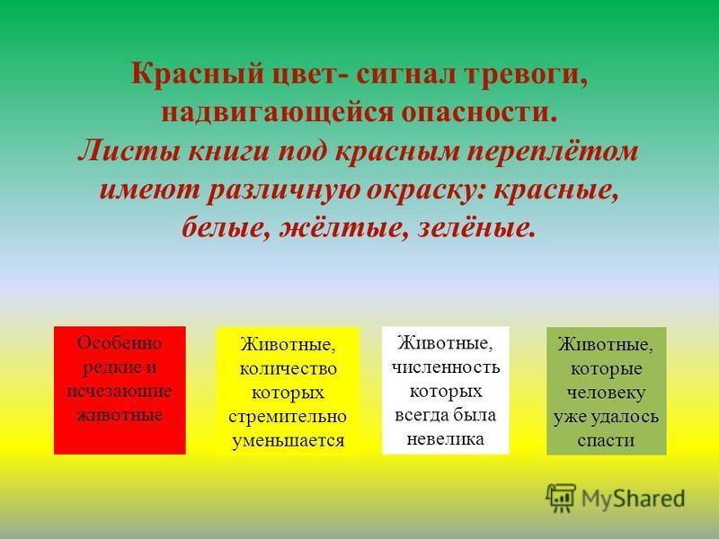Красный цвет- сигнал тревоги, надвигающейся опасности. Листы книги под красным переплётом имеют различную окраску: красные, белые, жёлтые, зелёные. Особенно редкие и исчезающие животные Животные, количество которых стремительно уменьшается Животные,