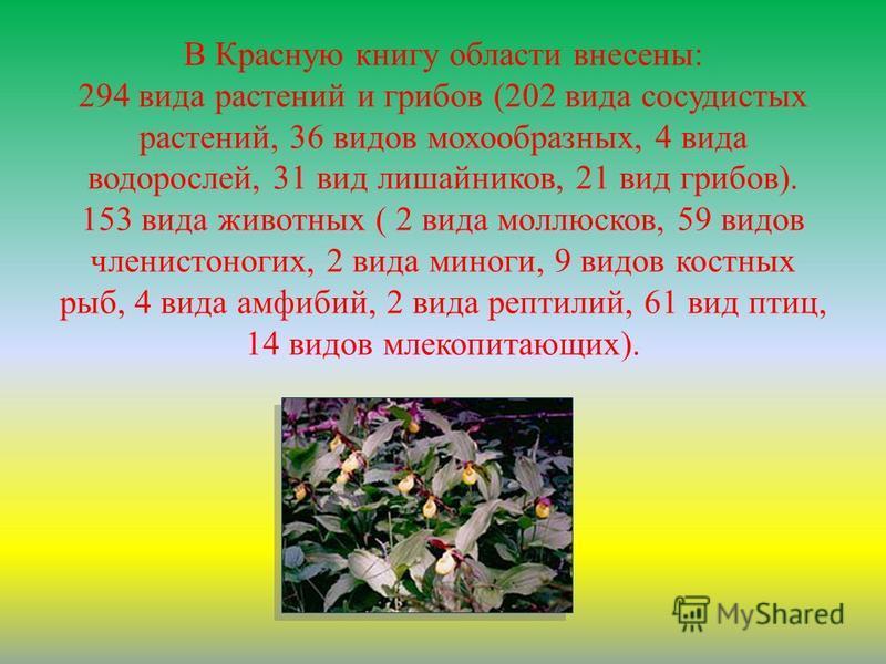 В Красную книгу области внесены: 294 вида растений и грибов (202 вида сосудистых растений, 36 видов мохообразных, 4 вида водорослей, 31 вид лишайников, 21 вид грибов). 153 вида животных ( 2 вида моллюсков, 59 видов членистоногих, 2 вида миноги, 9 вид