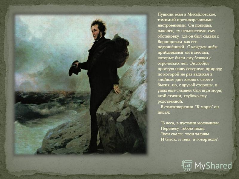 Пушкин ехал в Михайловское, томимый противоречивыми настроениями. Он покидал, наконец, ту ненавистную ему обстановку, где он был связан с Воронцовым как его подчинённый. С каждым днём приближался он к местам, которые были ему близки с отроческих лет.