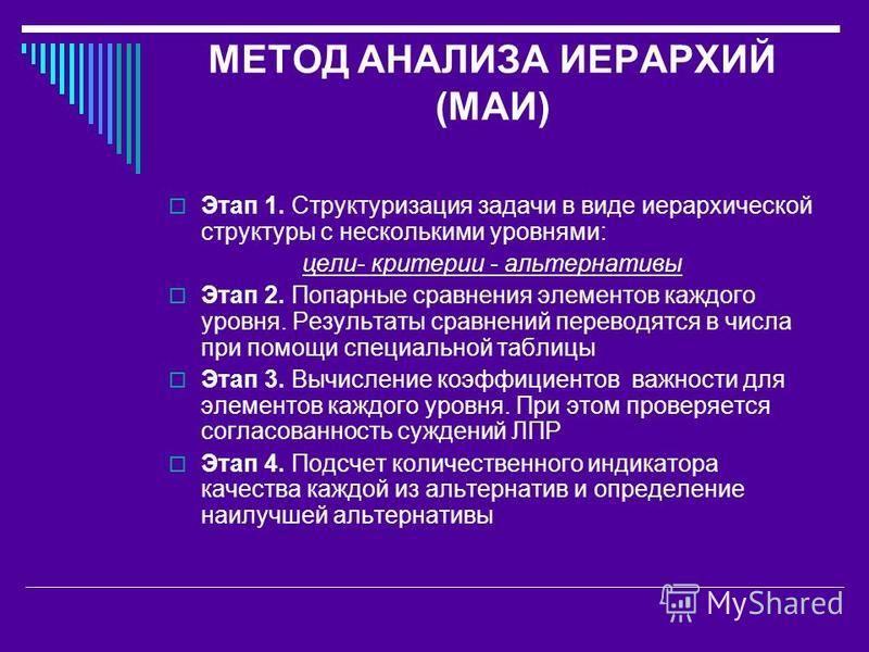 МЕТОД АНАЛИЗА ИЕРАРХИЙ (МАИ) Этап 1. Структуризация задачи в виде иерархической структуры с несколькими уровнями: цели- критерии - альтернативы Этап 2. Попарные сравнения элементов каждого уровня. Результаты сравнений переводятся в числа при помощи с