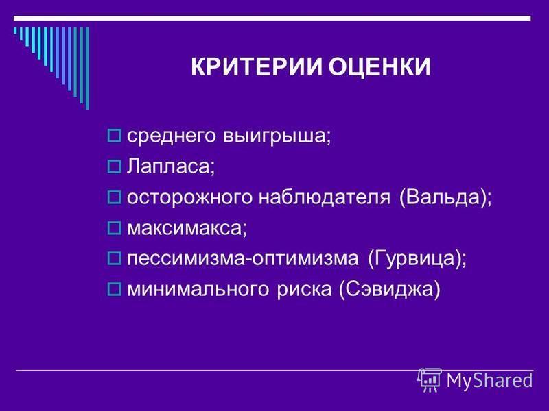 КРИТЕРИИ ОЦЕНКИ среднего выигрыша; Лапласа; осторожного наблюдателя (Вальда); максимакса; пессимизма-оптимизма (Гурвица); минимального риска (Сэвиджа)