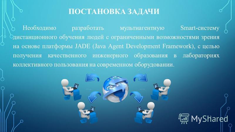 ПОСТАНОВКА ЗАДАЧИ Необходимо разработать мультиагентную Smart-систему дистанционного обучения людей с ограниченными возможностями зрения на основе платформы JADE (Java Agent Development Framework), с целью получения качественного инженерного образова