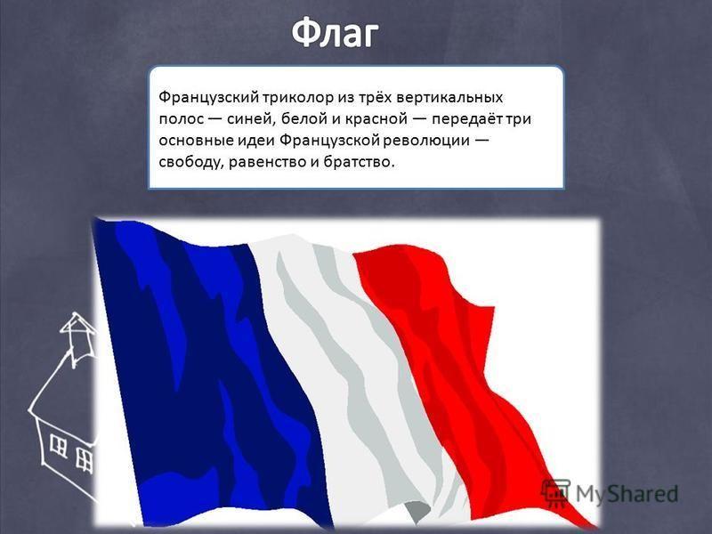 Французский триколор из трёх вертикальных полос синей, белой и красной передаёт три основные идеи Французской революции свободу, равенство и братство.