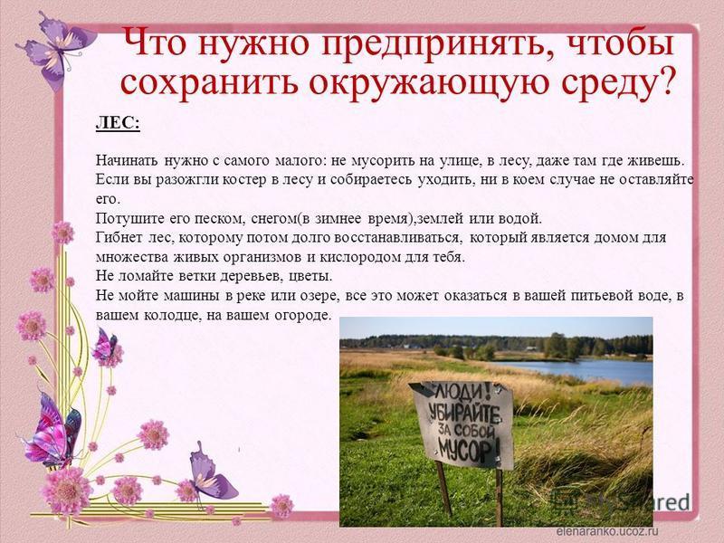 Что нужно предпринять, чтобы сохранить окружающую среду? ЛЕС: Начинать нужно с самого малого: не мусорить на улице, в лесу, даже там где живешь. Если вы разожгли костер в лесу и собираетесь уходить, ни в коем случае не оставляйте его. Потушите его пе