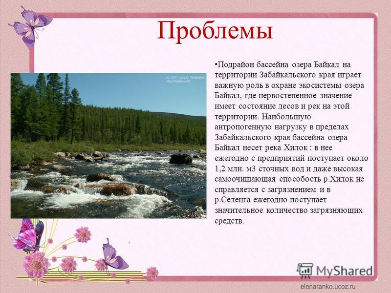 Проблемы Подрайон бассейна озера Байкал на территории Забайкальского края играет важную роль в охране экосистемы озера Байкал, где первостепенное значение имеет состояние лесов и рек на этой территории. Наибольшую антропогенную нагрузку в пределах За