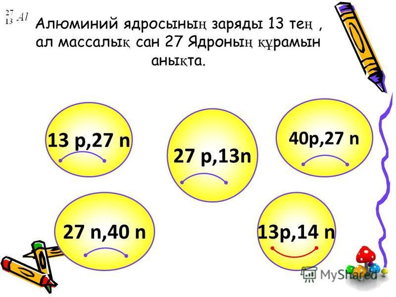Алюминий ядросыны ң заряды 13 те ң, ал массалы қ сан 27 Ядроны ң құ рамын аны қ та. 13p,14 n 13 p,27 n 40p,27 n 27 n,40 n 27 p,13n