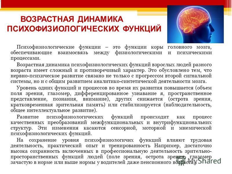 ВОЗРАСТНАЯ ДИНАМИКА ПСИХОФИЗИОЛОГИЧЕСКИХ ФУНКЦИЙ Психофизиологические функции – это функции коры головного мозга, обеспечивающие взаимосвязь между физиологическими и психическими процессами. Возрастная динамика психофизиологических функций взрослых л