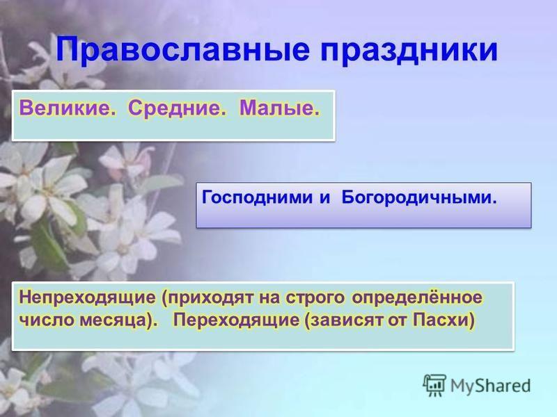 Православные праздники Господними и Богородичными.