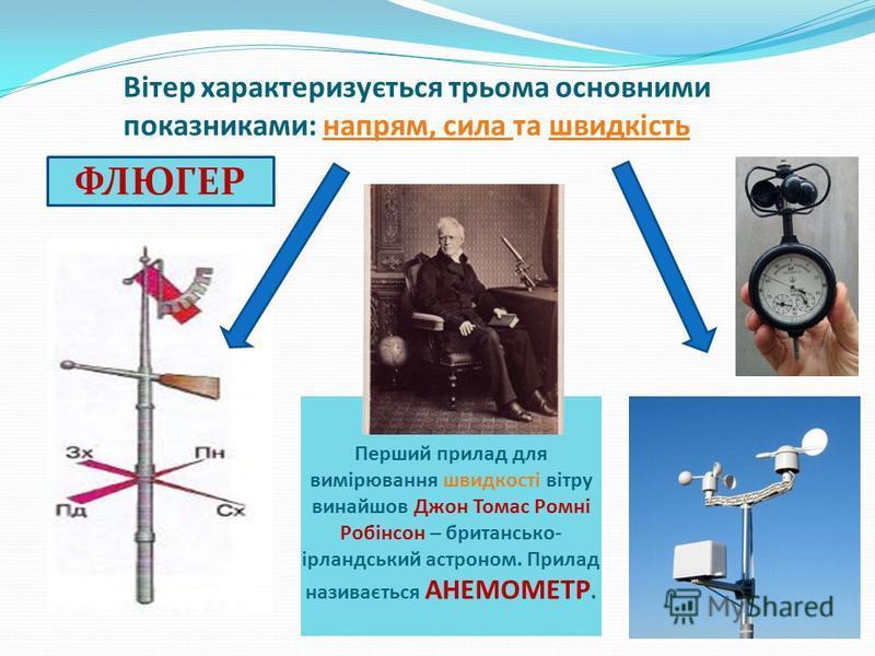 Вітер характеризується трьома основними показниками: напрям, сила та швидкість Перший прилад для вимірювання швидкості вітру винайшов Джон Томас Ромні Робінсон – британсько- ірландський астроном. Прилад називається АНЕМОМЕТР. ФЛЮГЕР