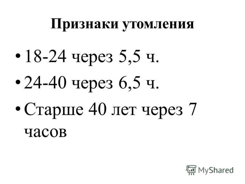 Признаки утомления 18-24 через 5,5 ч. 24-40 через 6,5 ч. Старше 40 лет через 7 часов