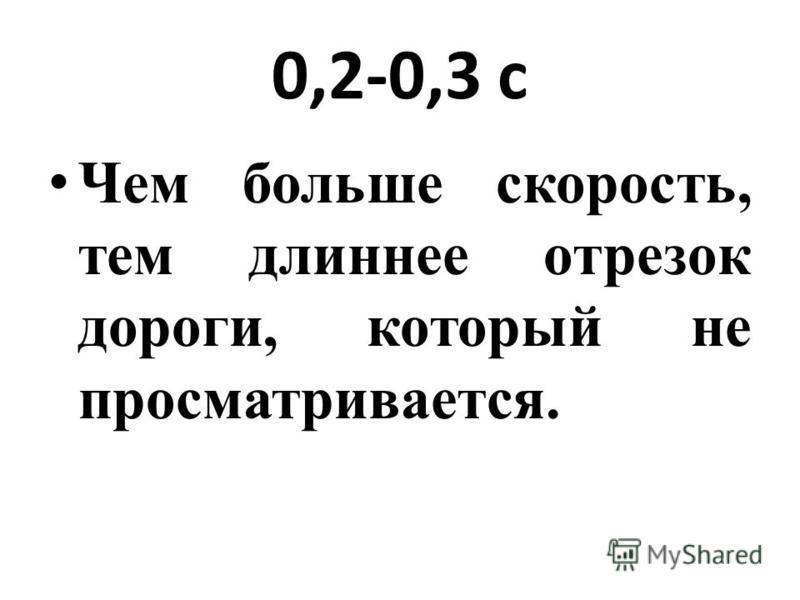 0,2-0,3 с Чем больше скорость, тем длиннее отрезок дороги, который не просматривается.