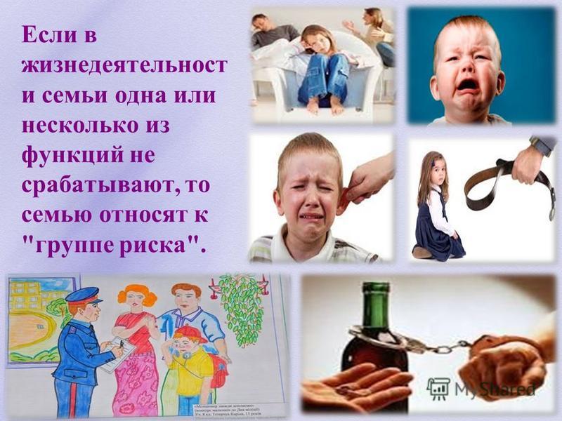 Если в жизнедеятельности семьи одна или несколько из функций не срабатывают, то семью относят к группе риска.