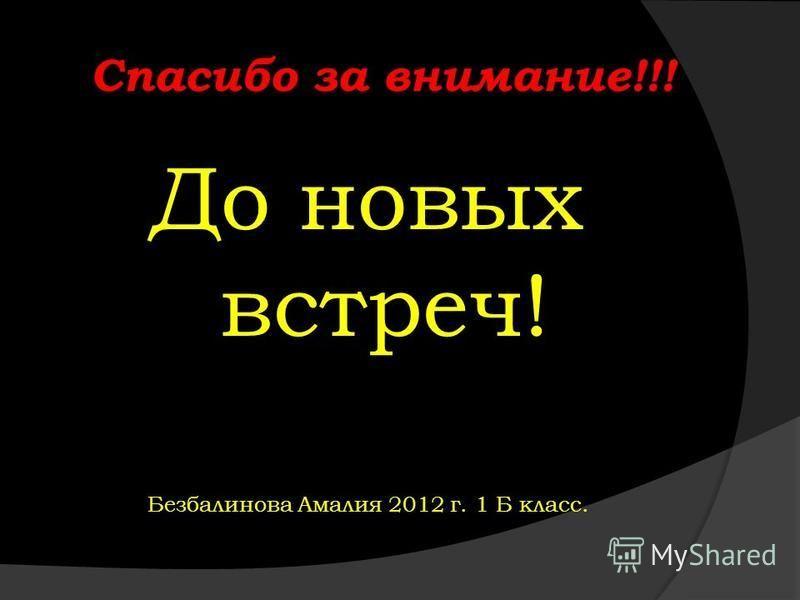 Спасибо за внимание!!! До новых встреч! Безбалинова Амалия 2012 г. 1 Б класс.