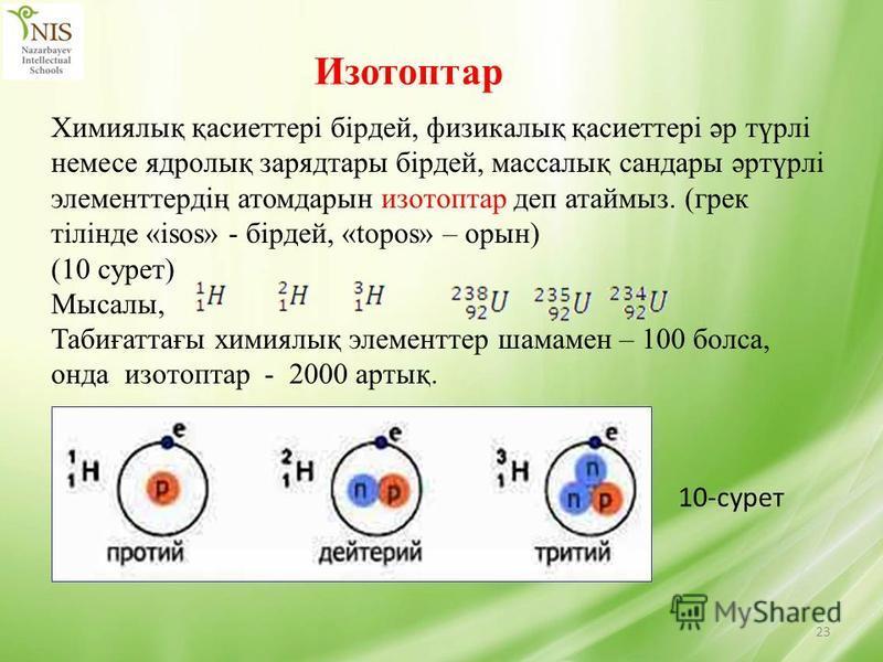 23 Изотоптар Химиялық қасиеттері бірдей, физикалық қасиеттері әр түрлі немесе ядролық зарядтары бірдей, массалық сандары әртүрлі элементтердің атомдарын изотоптар деп атаймыз. (грек тілінде «isos» - бірдей, «topos» – орын) (10 сурет) Мысалы, Табиғатт
