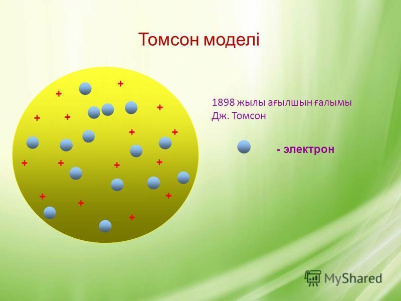 Томсон моделі 1898 жылы ағылшын ғалымы Дж. Томсон + + + + + + + + + + + + + + + - электрон