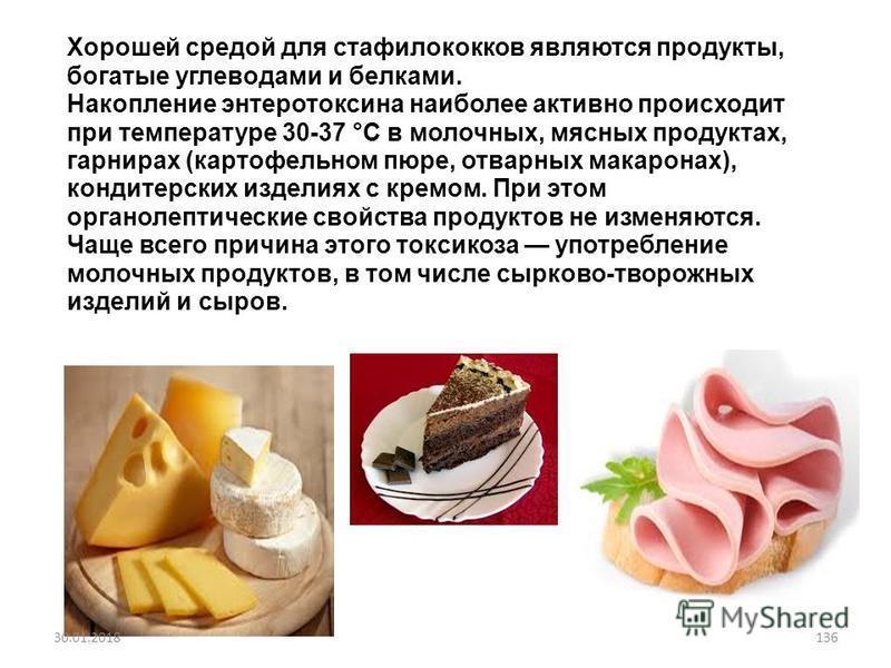 Хорошей средой для стафилококков являются продукты, богатые углеводами и белками. Накопление энтеротоксина наиболее активно происходит при температуре 30-37 °С в молочных, мясных продуктах, гарнирах (картофельном пюре, отварных макаронах), кондитерск