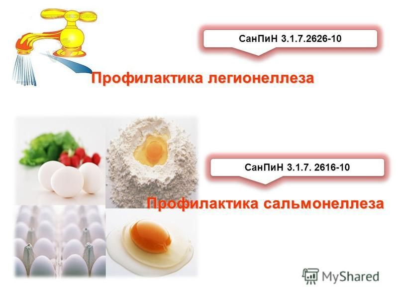 Сан ПиН 3.1.7.2626-10 Сан ПиН 3.1.7. 2616-10 Профилактика легионеллеза Профилактика сальмонеллеза