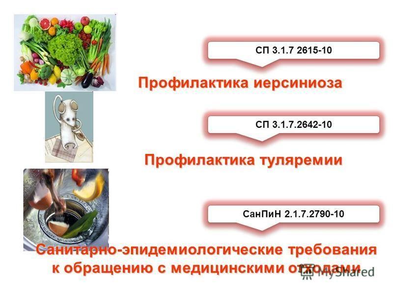 Профилактика иерсиниоза СП 3.1.7 2615-10 Профилактика туляремии СП 3.1.7.2642-10 Сан ПиН 2.1.7.2790-10 Санитарно-эпидемиологические требования к обращению с медицинскими отходами
