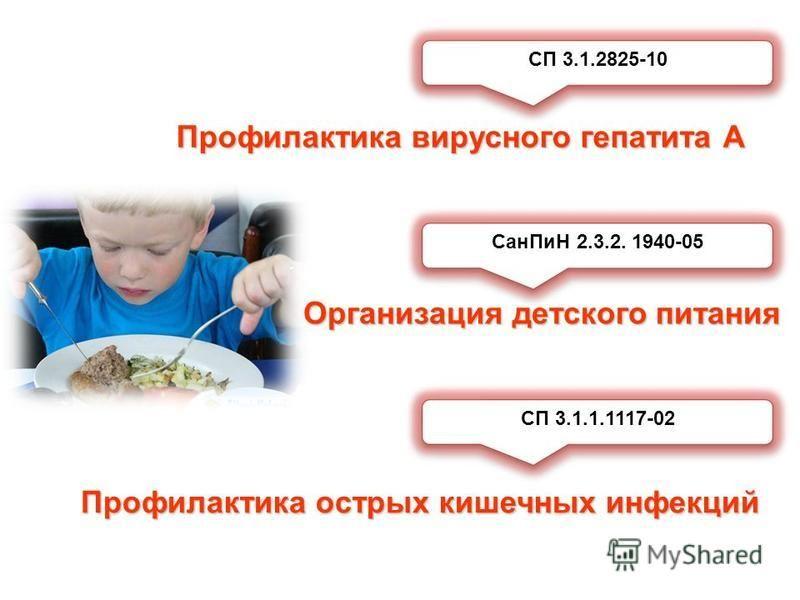 Сан ПиН 2.3.2. 1940-05 Организация детского питания Профилактика острых кишечных инфекций СП 3.1.1.1117-02 Профилактика вирусного гепатита А СП 3.1.2825-10