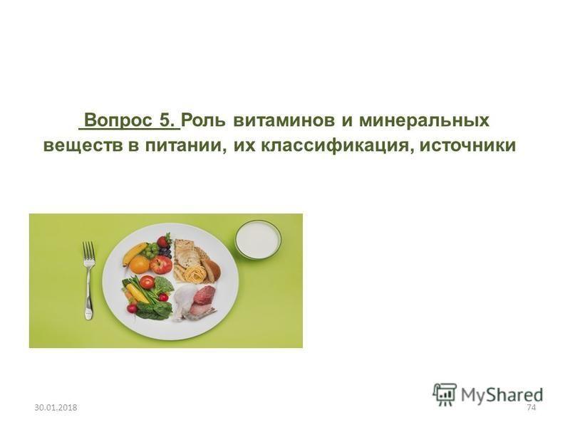 Вопрос 5. Роль витаминов и минеральных веществ в питании, их классификация, источники 30.01.201874