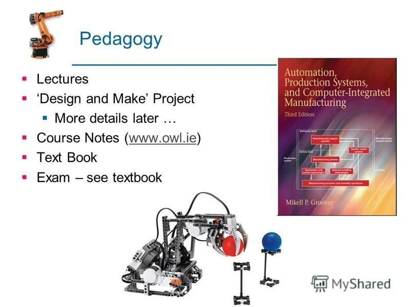 Pedagogy Lectures Design and Make Project More details later … Course Notes (www.owl.ie)www.owl.ie Text Book Exam – see textbook