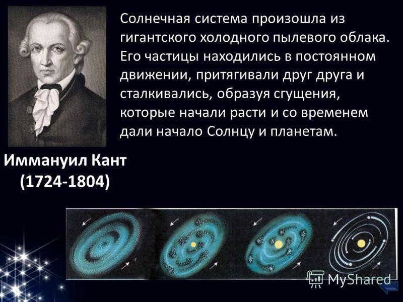 Солнечная система произошла из гигантского холодного пылевого облака. Его частицы находились в постоянном движении, притягивали друг друга и сталкивались, образуя сгущения, которые начали расти и со временем дали начало Солнцу и планетам. Иммануил Ка