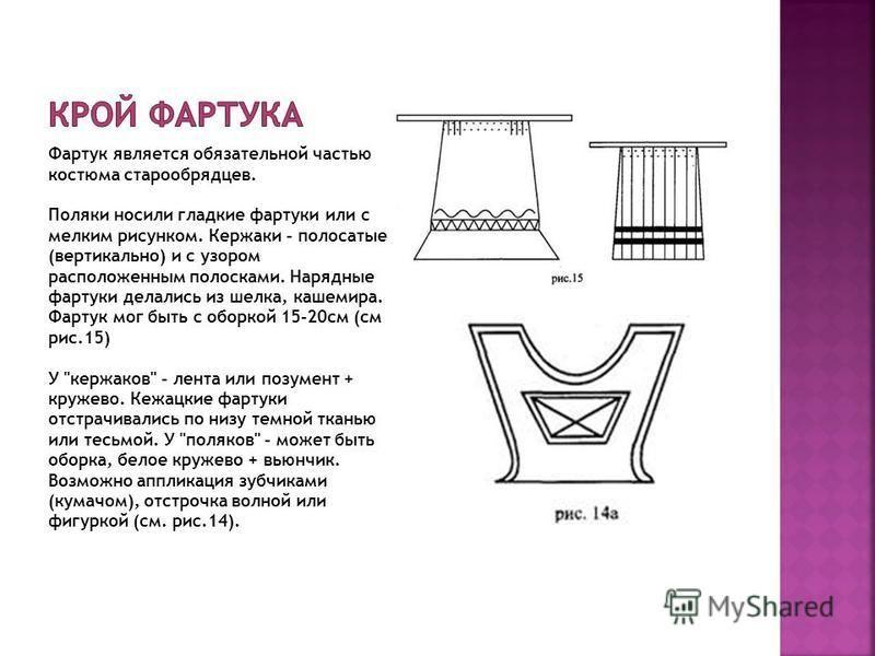 Фартук является обязательной частью костюма старообрядцев. Поляки носили гладкие фартуки или с мелким рисунком. Кержаки - полосатые (вертикально) и с узором расположенным полосками. Нарядные фартуки делались из шелка, кашемира. Фартук мог быть с обор