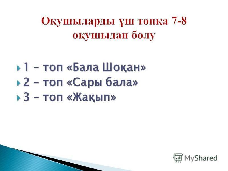1 – топ «Бала Шоқан» 1 – топ «Бала Шоқан» 2 – топ «Сары бала» 2 – топ «Сары бала» 3 – топ «Жақып» 3 – топ «Жақып»