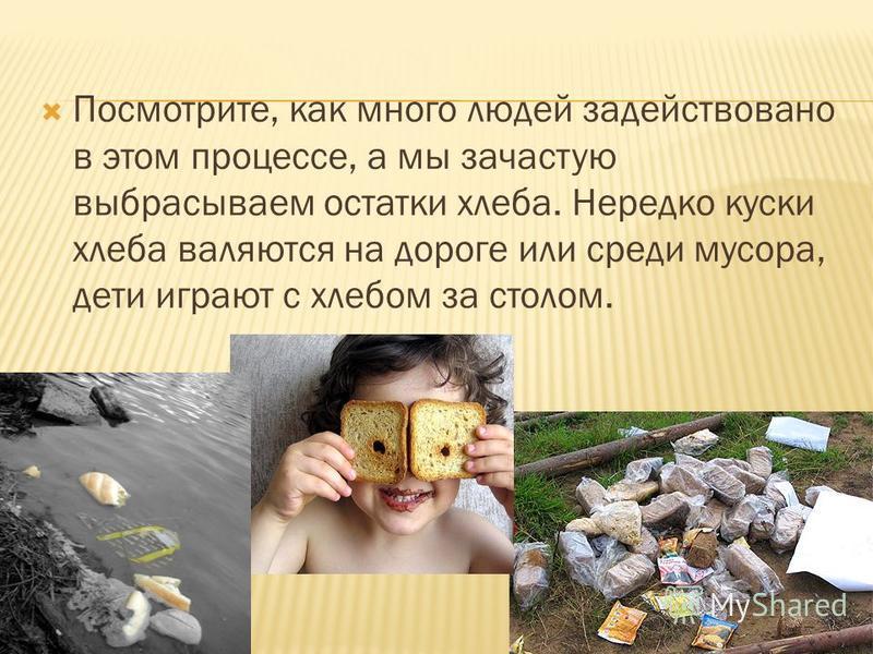 Посмотрите, как много людей задействовано в этом процессе, а мы зачастую выбрасываем остатки хлеба. Нередко куски хлеба валяются на дороге или среди мусора, дети играют с хлебом за столом.