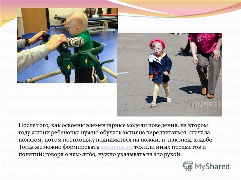 После того, как освоены элементарные модели поведения, на втором году жизни ребеночка нужно обучать активно передвигаться: сначала ползком, потом потихоньку подниматься на ножки, и, наконец, ходьбе. Тогда же можно формировать восприятие тех или иных