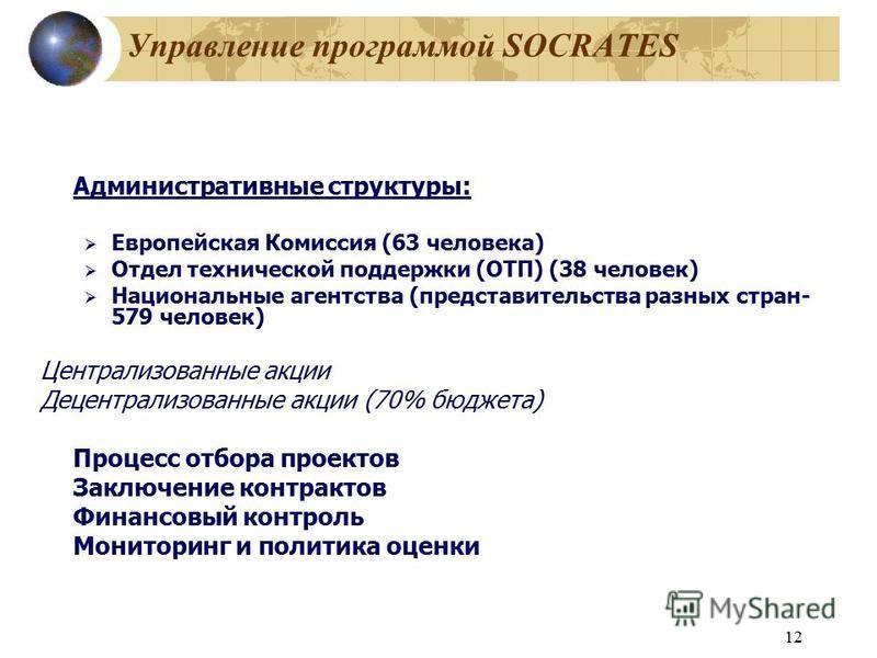 12 Управление программой SOCRATES Административные структуры: Европейская Комиссия (63 человека) Отдел технической поддержки (ОТП) (38 человек) Национальные агентства (представительства разных стран- 579 человек) Централизованные акции Децентрализова