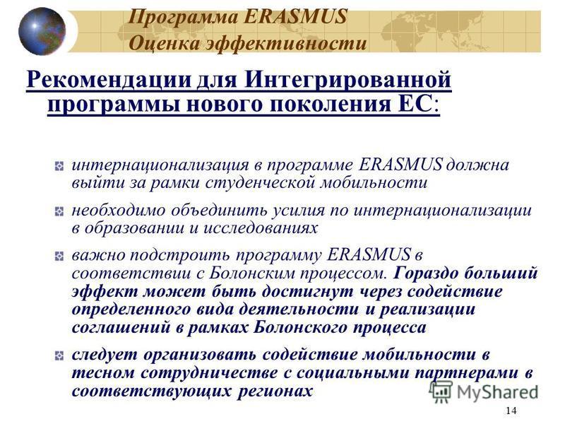 14 Программа ERASMUS Оценка эффективности Рекомендации для Интегрированной программы нового поколения ЕС: интернационализация в программе ERASMUS должна выйти за рамки студенческой мобильности необходимо объединить усилия по интернационализации в обр