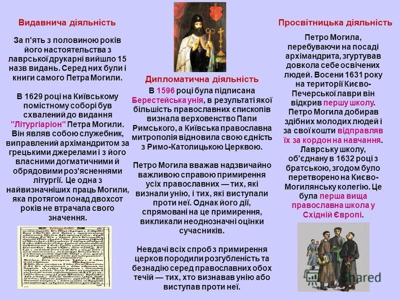 Видавнича діяльність За п'ять з половиною років його настоятельства з лаврської друкарні вийшло 15 назв видань. Серед них були і книги самого Петра Могили. В 1629 році на Київському помістному соборі був схвалений до видання