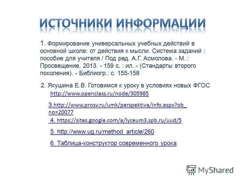 2. Якушина Е.В. Готовимся к уроку в условиях новых ФГОС 4. https://sites.google.com/a/lyceum3.spb.ru/uud/5 3. http://www.prosv.ru/umk/perspektiva/info.aspx?ob_ no=20077 5. http://www.ug.ru/method_article/260 6. Таблица-конструктор современного урока