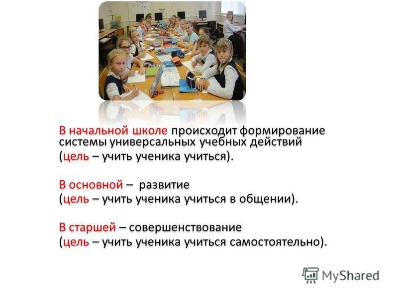 В начальной школе происходит формирование системы универсальных учебных действий (цель – учить ученика учиться). В основной – развитие (цель – учить ученика учиться в общении). В старшей – совершенствование (цель – учить ученика учиться самостоятельн