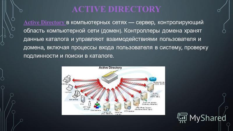 ACTIVE DIRECTORY Active Directory в компьютерных сетях сервер, контролирующий область компьютерной сети ( домен ). Контроллеры домена хранят данные каталога и управляют взаимодействиями пользователя и домена, включая процессы входа пользователя в сис