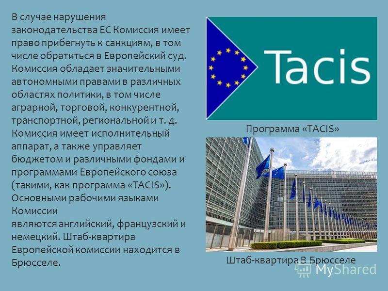В случае нарушения законнодательства ЕС Комиссия имеет право прибегнуть к санкциям, в том числе обратиться в Европейский суд. Комиссия обладает значительными автономными правами в различных областях политики, в том числе аграрной, торговой, конкурент