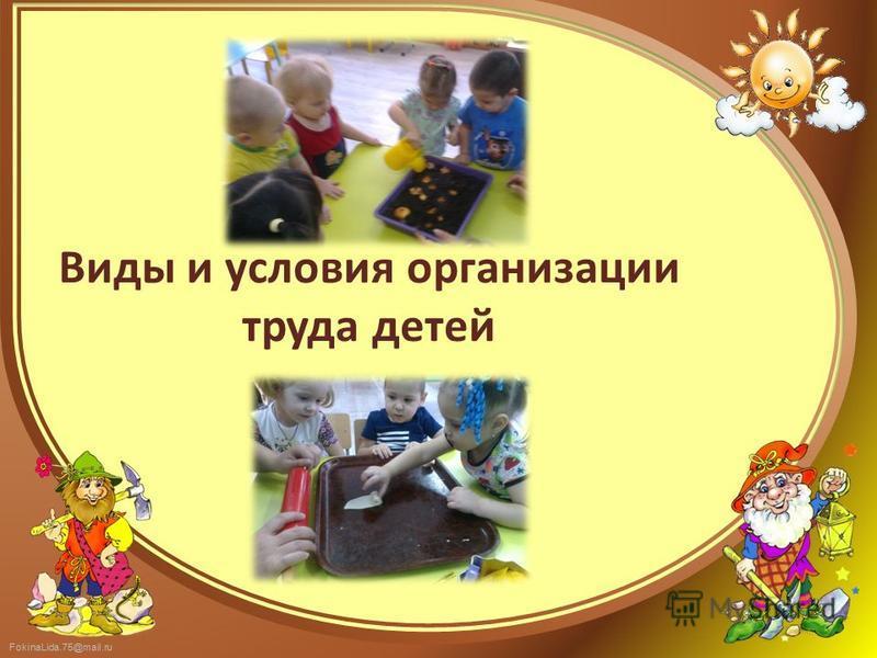 FokinaLida.75@mail.ru Виды и условия организации труда детей