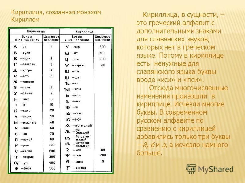 Кириллица, в сущности, – это греческий алфавит с дополнительными знаками для славянских звуков, которых нет в греческом языке. Потому в кириллице есть ненужные для славянского языка буквы вроде «кси» и «пси». Отсюда многочисленные изменения произошли